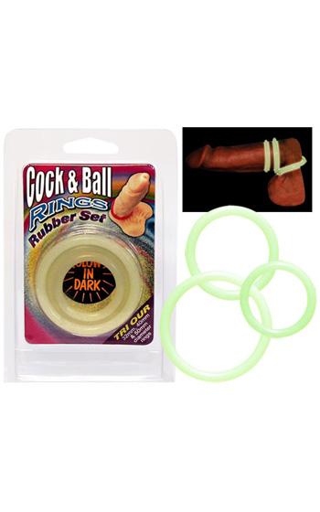 Cock & Ball Rings Självlysande 3-pack