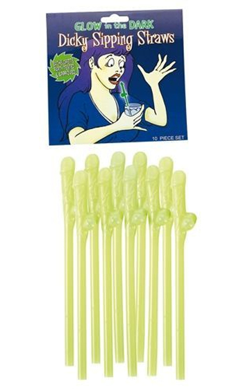 Glow Dicky Sipping Straws 10-pack