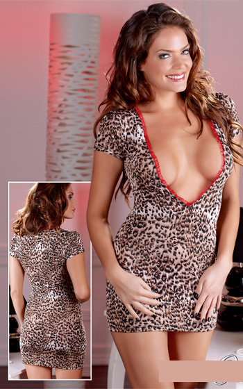 Miniklänning Leopard Stl XL