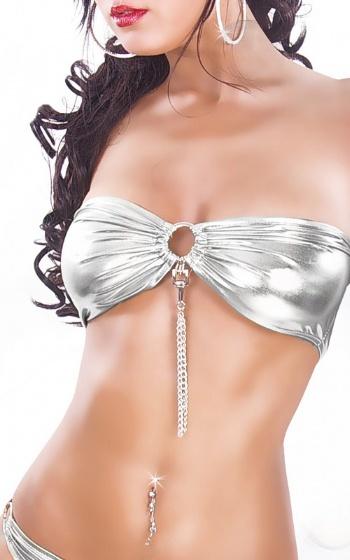 Sexig bh i silver utan axelband