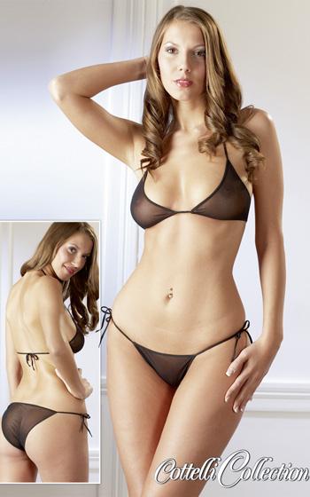 Transparent Bikini - Svart
