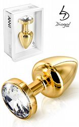 Presenttips Buttplug Gold Crystal 25 mm