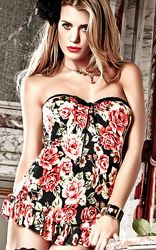Strapless Mini Dress with Lavish Flower